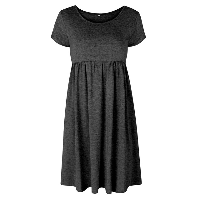 VITIANA Brand Women Spring Summer Office Dress Black Green Blue Solid O-Neck Short Sleeve Casual Dresses Vestidos De Festa