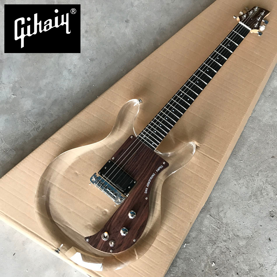In Stock New Arrival Acrylic body Electric Guitar with Wood pickguard, 24Frets Transparent Guitar, Real photo showing, Wholesale in stock 2018 china factory hot 41 guitar pickguard hummingbird acoustic guitar pickguard 2mm thickness free shipping