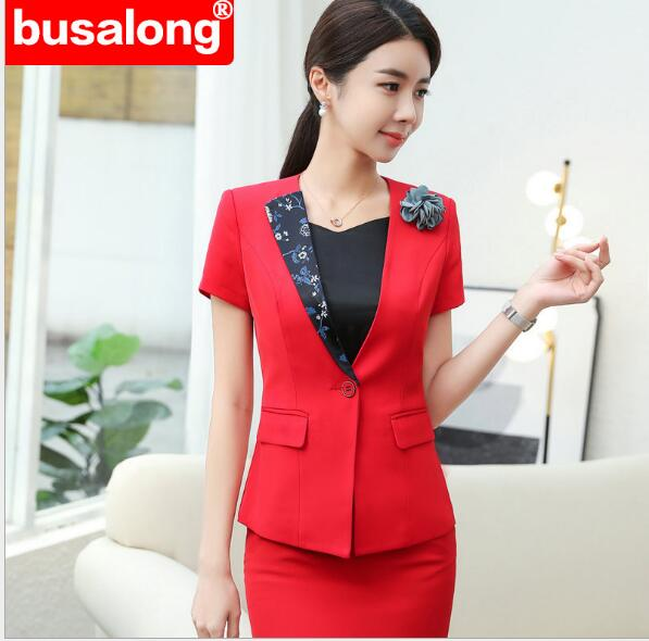 Fashion Womens Formal Suits Office OL Uniform Designs Long-sleeve Blazer+ Skirt Suits Work Wear 2 Piece Sets Plus Size Flower