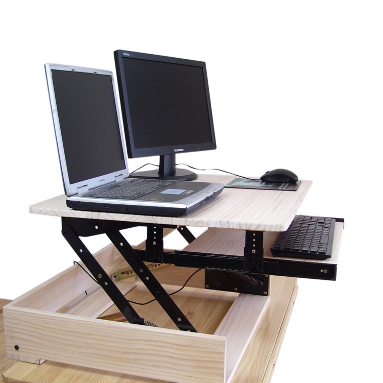 Natural Wood Height Adjule Sit Stand Desk Riser Laptop Notebook Monitor Holder With Strechable Keyboard Tray In Tablet Stands From