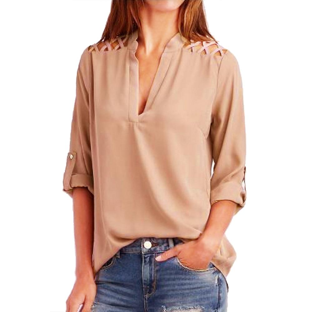 Женская шифоновая блузка с длинным рукавом рубашка Женщины топы свободного покроя лето V шеи blusas femininas Camisas Mujer оптовая продажа noJA23