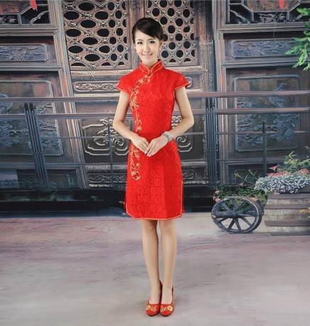 Free shipping2013 spring red bride cheongsam improved cheongsam married spring design short cheongsam formal dress vintage