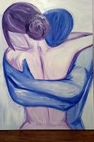แฮนด์เมดการประดิษฐ์ตัวอักษรวิจิตรศิลปะผนังจิตรกรรมนามธรรมคริลิคของคู่กอดมือวาดศิลปะคู...
