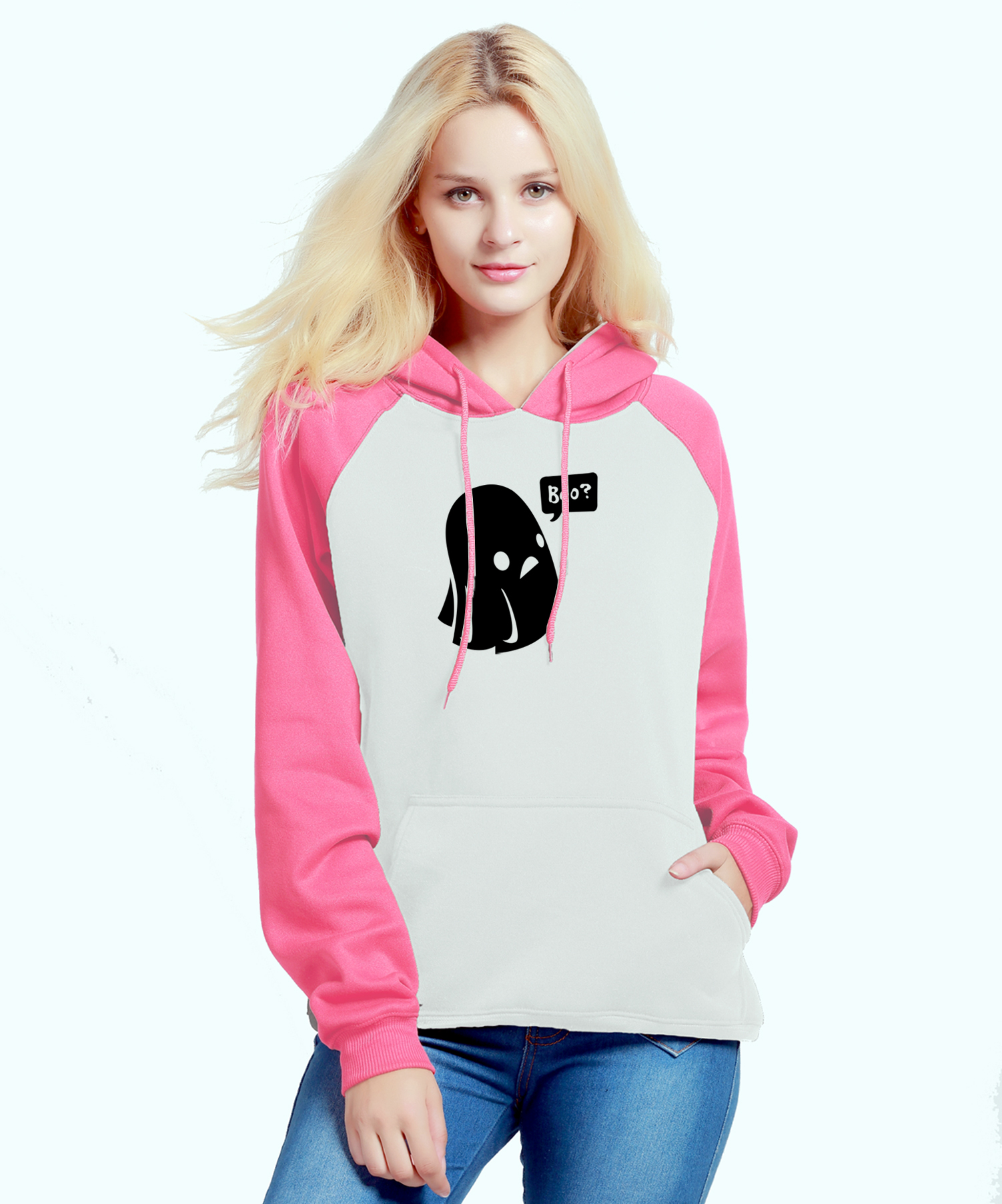Womens Hoody 2018 New Fashion Sweatshirts Autumn Winter Slim Raglan Hoodies Ghost Boo Halloween Print Hip Hop Streetwear Kpop