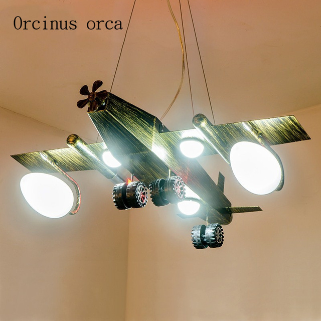 Retro Wind Aircraft Chandelier Cafe Children S Room Lights Modern Personalized Creative Fighter Chandeliers