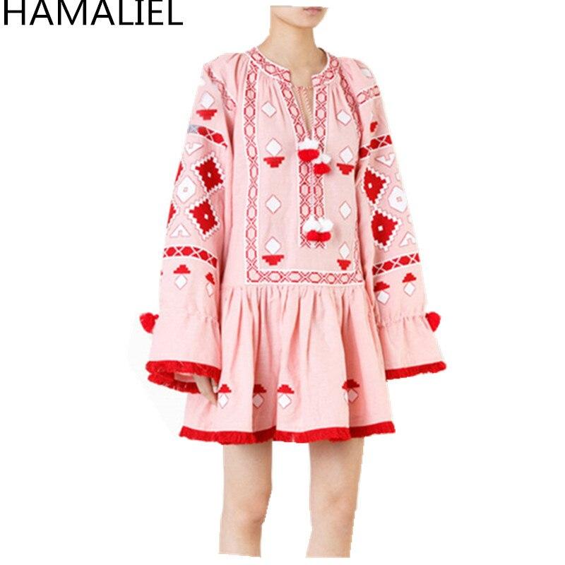 HAMALIEL bohème Style automne femmes plage Mini robe 2018 piste rose broderie coton manches longues gland Chic robe Vestidos