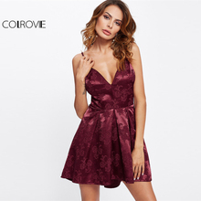 COLROVIE 2017 Deep V Neck Spaghetti Strap Asymmetrical Party Dress Women Box Pleated Floral Jacquard Sleeveless Satin Cami Dress
