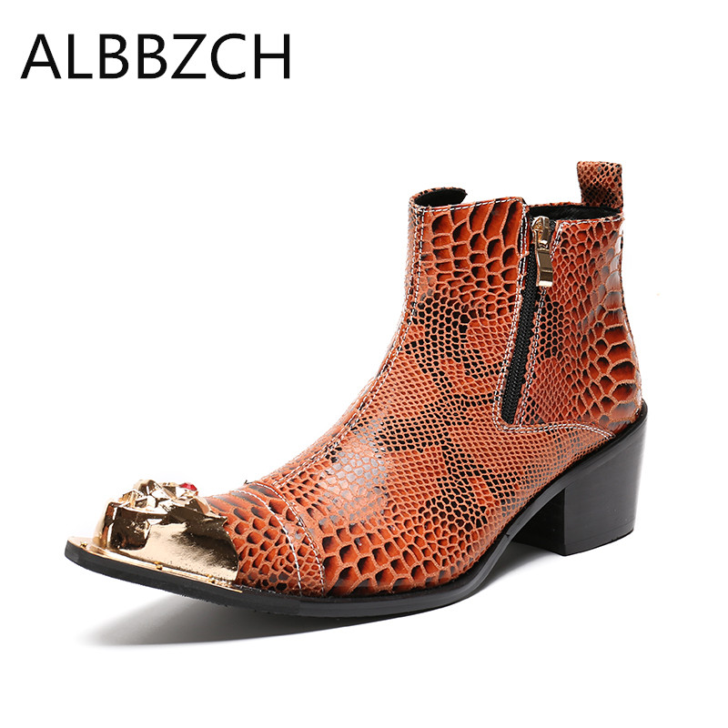 Spring summer new mens fashion luxury metal design embossed leather boots men high heels pointed toe career work ankle man bootsSpring summer new mens fashion luxury metal design embossed leather boots men high heels pointed toe career work ankle man boots