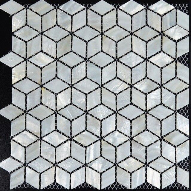 Weiss Mosaik Fliesen Backsplash Raute Kuche Perlmutt Fliesen Diamant