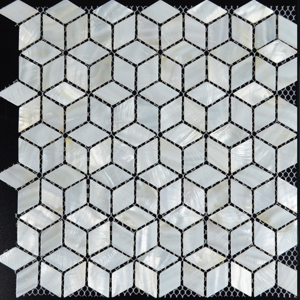 white mosaic tile backsplash rhombus kitchen mother of pearl tiles
