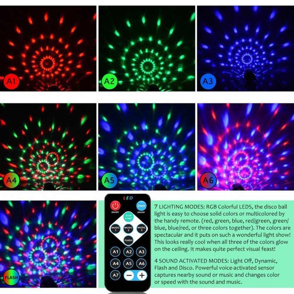 6-Цвет Мини диско этапа с украшением в виде кристаллов магический светодиодный сценический шар светильник с лампой голосовой пульт дистанционного управления голосовой Управление Красота