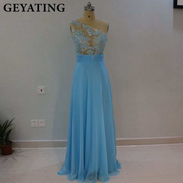 C One Shoulder Blue Bridesmaid Dresses Under 100 Lique Lace Beaded Illusion A Line Long Wedding