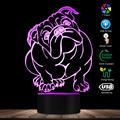 Собака породы Английский бульдог Цвет Изменение LED Акриловый свет британский Бульдог USB декоративное освещение лампа с 3D оптической иллюзи...