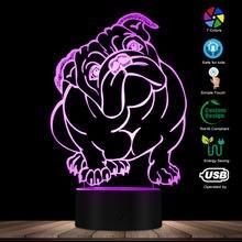 Chien race anglais bouledogue couleur changeante LED acrylique lumière britannique bouledogue USB éclairage décoratif 3D optique illusion lampe