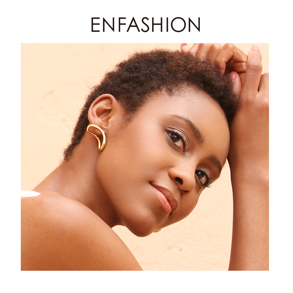 ENFASHION Punk Geometric Curve Stud Earrings For Women Gold Color Three Dimensional Earings Fashion Jewelry Oorbellen EC191026