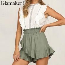 Glamaker Ruffles sexy high waist shorts Women loose skirt shorts casual summer mini shorts Female spring club slim beach bottoms