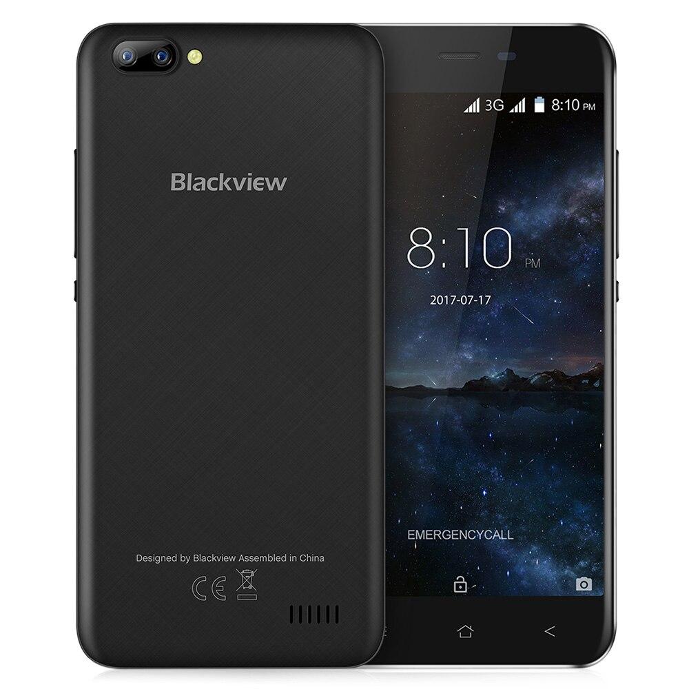 Blackview A7 3G Smartphone Android 7.0 5.0 pouce D'origine IPS Écran MTK6580A 1.3 GHz Quad Core 1 GB RAM 8 GB ROM 0.3MP Mobile Téléphone