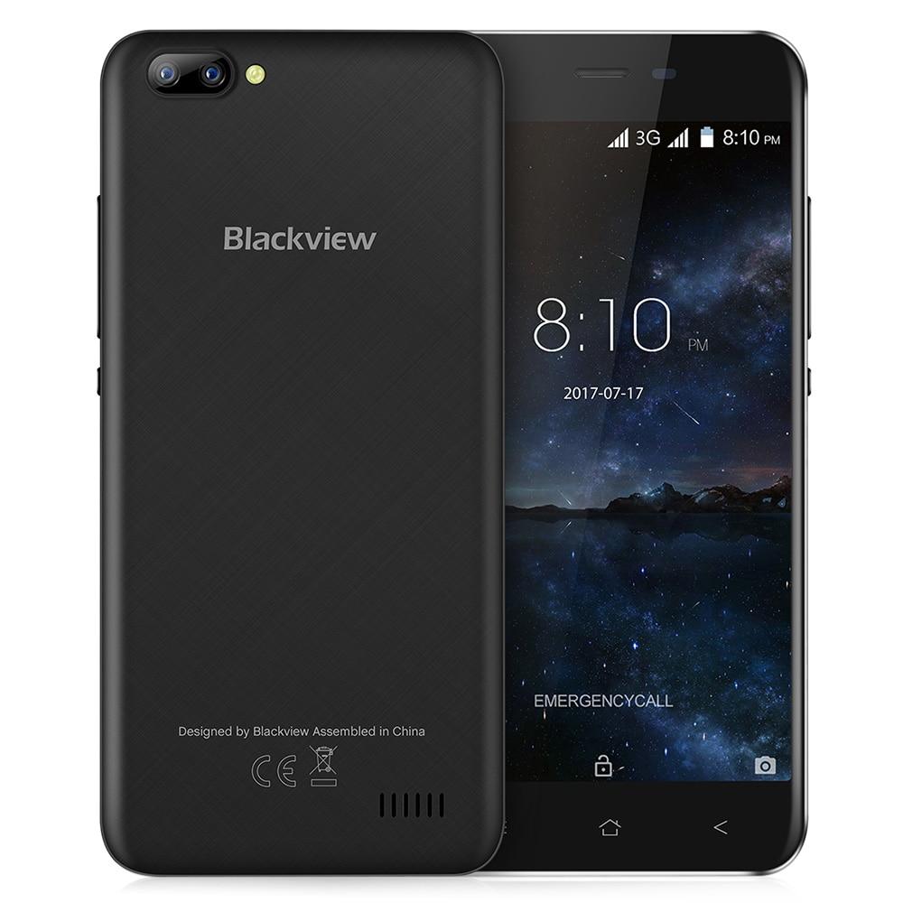 Blackview A7 3g Смартфон Android 7,0 5,0 дюймов Оригинальный ips Экран MTK6580A 1. 3g Гц 4 ядра 1 ГБ Оперативная память 8 ГБ Встроенная память 0.3MP мобильного телефо...