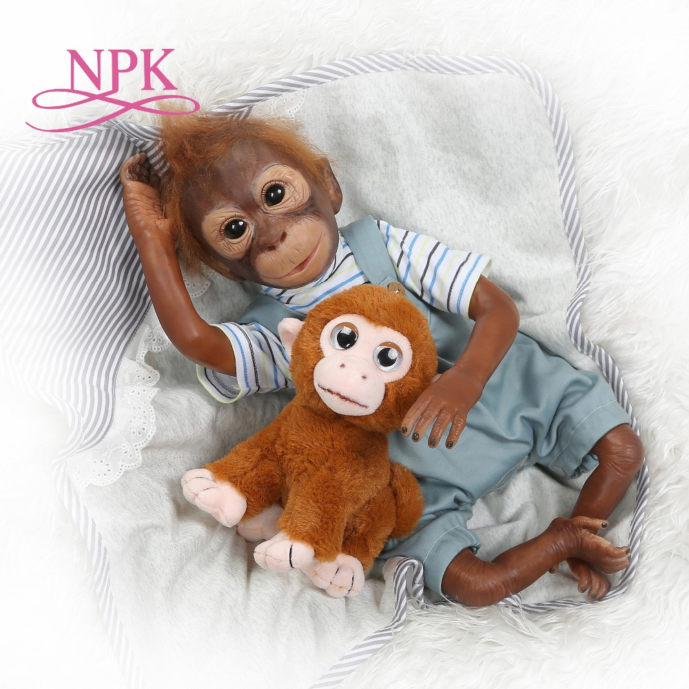 New 21inch 52CM 100 handmade reborn Monkey very soft silicone vinyl flexible Collectible art doll