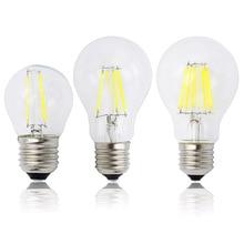 A60 G45 Винтаж затемнения светодиодный нити светильник лампочка E27 COB лампы 2/4/6/8 нитей 220 в 230 лампада LED 10 Вт, 15 Вт, 20 Вт, 25 Вт