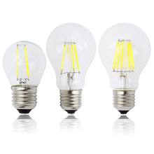 A60 g45ヴィンテージ調光対応ledフィラメント電球e27 cob電球2/4/6/8フィラメント220ボルト230ボルトランパーダ10ワット15ワット20ワット25ワット