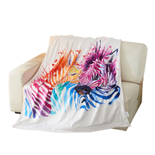 Purple and Orange Watercolor Zebra 3D Photo Blanket Fleece Throw