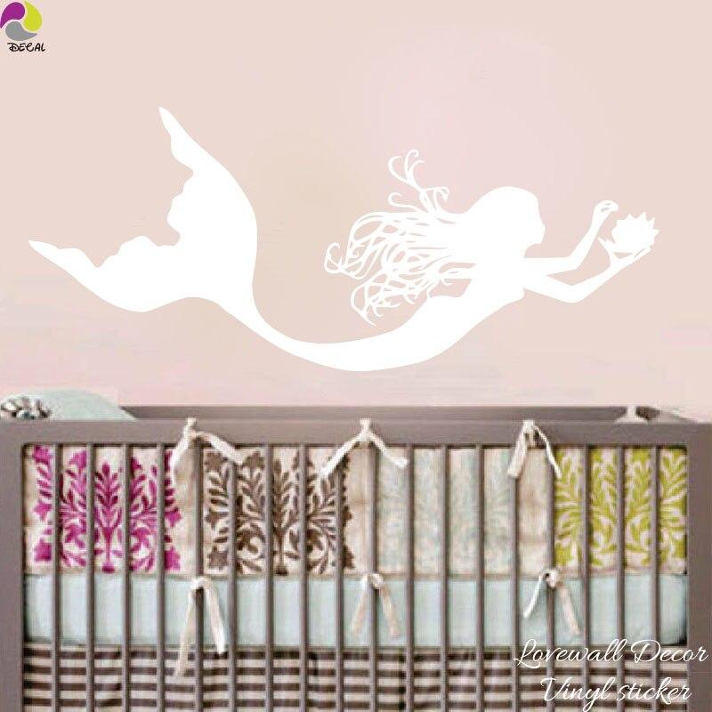 Cute Ocean Mermaid Wall Sticker Bedroom Baby Nursery Cartoon Shell