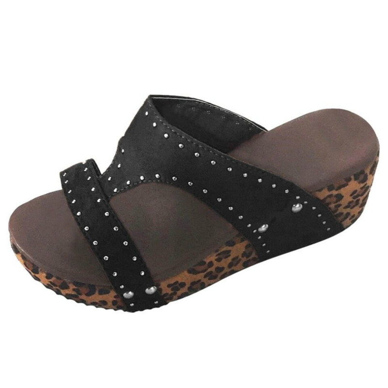 <font><b>women</b></font> <font><b>slippers</b></font> summer <font><b>sexy</b></font> leopard crystal thick bottom slides plus size open toe <font><b>high</b></font> <font><b>heel</b></font> <font><b>wedge</b></font> rivet platform <font><b>shoes</b></font> <font><b>woman</b></font> image