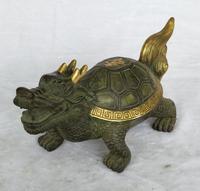Длина 25 см/10 дюймов коллекция китайская, под старину, бронзовая свинка Большой черепаха Дракон Скульптура дома украшение Фен шуй статуи в ан