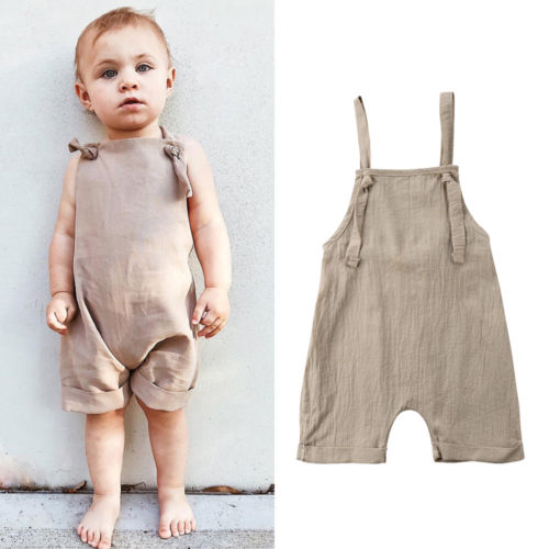 Newborn Kids Boy Girl Bib Pants Sleeveless Romper Jumpsuit Playsuit Outfits