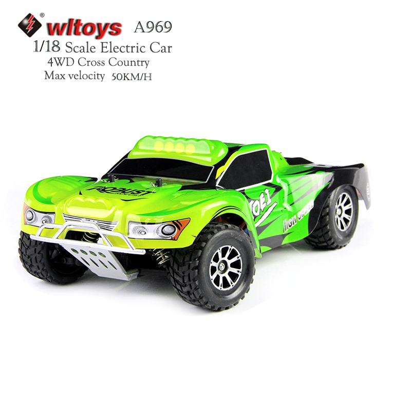 Wltoys A969 RC Car 4WD 1:18 Scale 2.4G High Speed Radio Controlled Car Remote Control Racing Cross-country Car Mini automotive nansheng 8807g 1 12 scale 3 ch 2 4ghz high speed r c cross country car silver black