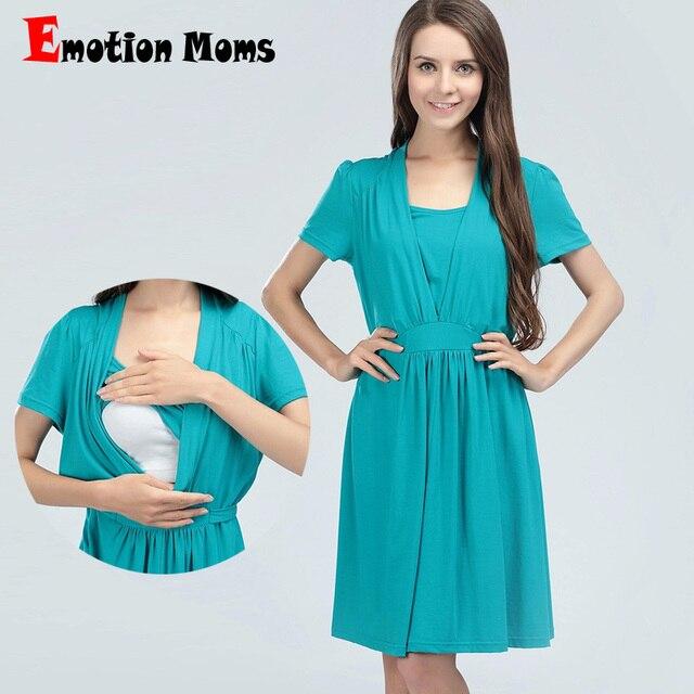 570dc7fa45e64 العاطفة الامهات ملابس حمل القطن فستان حمل الصيف التمريض فساتين الرضاعة  الطبيعية اللباس للنساء الحوامل تغذية