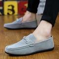 Holgazanes hombres de la marca de lujo mocasines Guisantes zapatos de cuero genuino de la pu tendencia Coreano Zapatos Casuales Transpirable Zapatos de Conducción Plana antideslizante