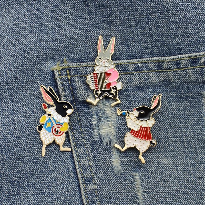 3 шт./комплект, набор из твердого эмалированного штифта, Винтажная брошь в виде кролика, брошь в виде кролика, милые подарки