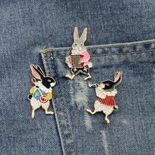 Conjunto de pinos de coelho em 3 pçs/set, kit de broches esmaltados, pinos de coelho, vintage, joias de coelho, presentes fofos
