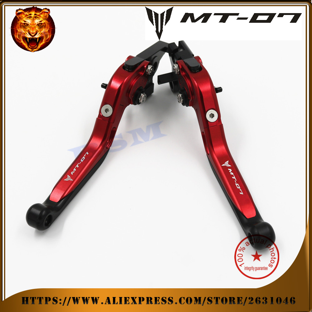 ФОТО Motorcycle Aluminum Adjustabale Folding Extendable Brake Clutch Lever  For YAMAHA MT07 FZ07 MT-07 FZ-07 2014 2015 2016 Red