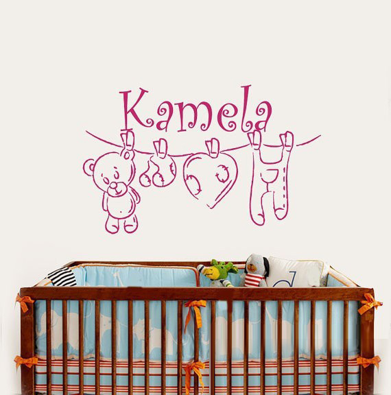 Cp36 Winnie The Pooh Bear Custom Personalized Name Vinyl Wall Art Sticker Kids Decals For