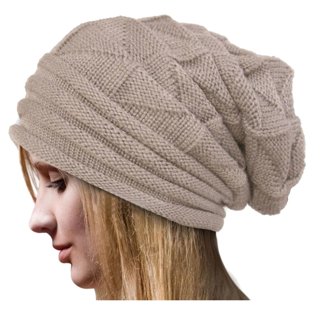 Women Winter Crochet Hat Ski woolen yarn Knit Beanie Warm Caps Oversized, Beige