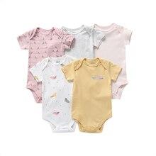Bebê menina bodysuit manga curta algodão 2020 verão recém nascido menino roupas do corpo unsiex novo nascido terno amor impressão 5 pçs/set