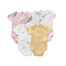 baby girl bodysuit short sleeve cotton 2020 summer newborn boy body clothes unsiex new born clothing suit love print 5pcs/set