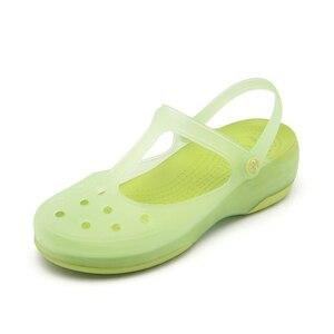 Image 4 - Zuecos de verano transpirables para mujer, pantuflas dulces, sandalias de gelatina, calzado para jardín