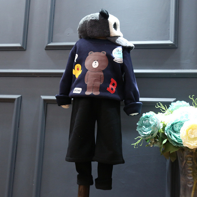2016 Korean girls winter bear cartoon printed fleece fleece jacket coat T-shirt free shipping