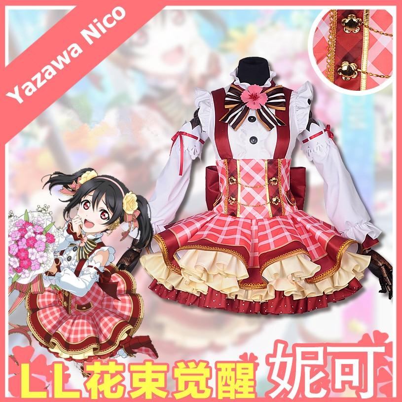 LoveLive Yazawa Nico Bouquet Flowers Awaken Cosplay Costume Lolita Dress Anime Costumes Halloween Party Costumes for Women S XL