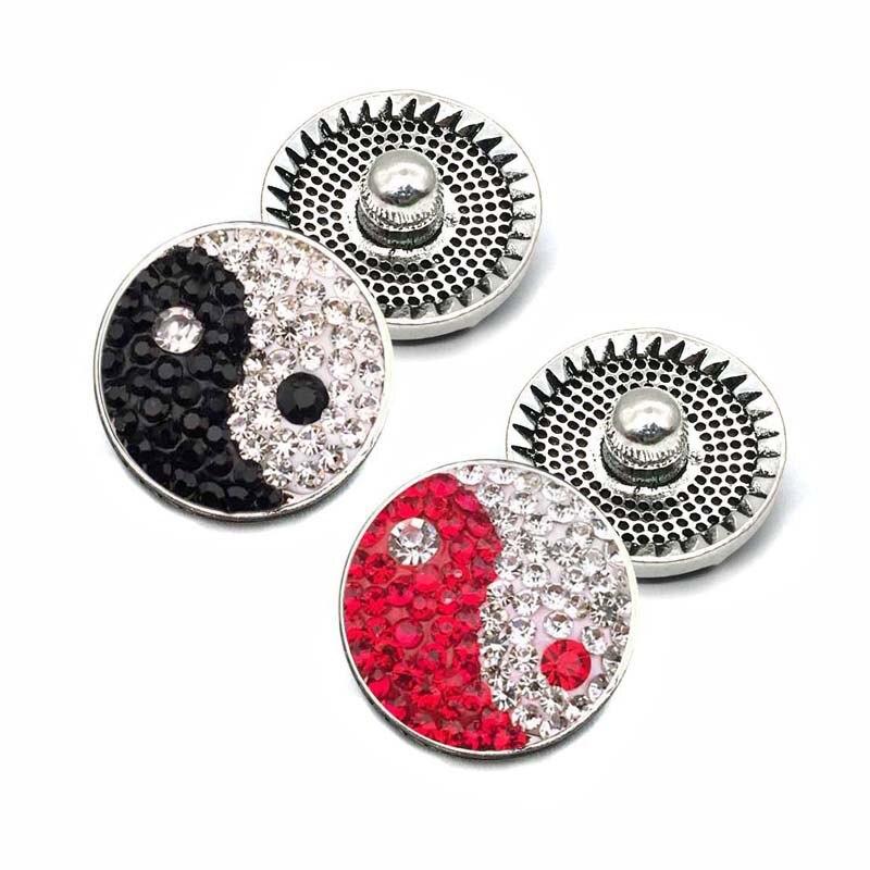 Оптовая продажа W076 тай-чи 18 мм 20 мм горный хрусталь Металлические Кнопки для кнопки браслет Цепочки и ожерелья украшения для Для Женщин сере...