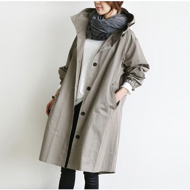 Johnature Women Coats Hooded-Collar Autumn Korean Plus-Size Winter Casual New Solid Loose