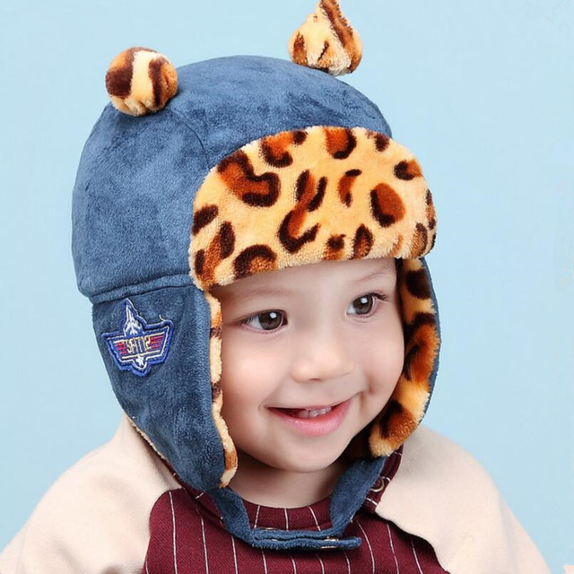 3543dc827 US $8.05 30% OFF|toddler baby boy pilot aviator hat for kids girls cap  children warm ear protection snow cap blue with camouflage russian hat-in  Hats ...