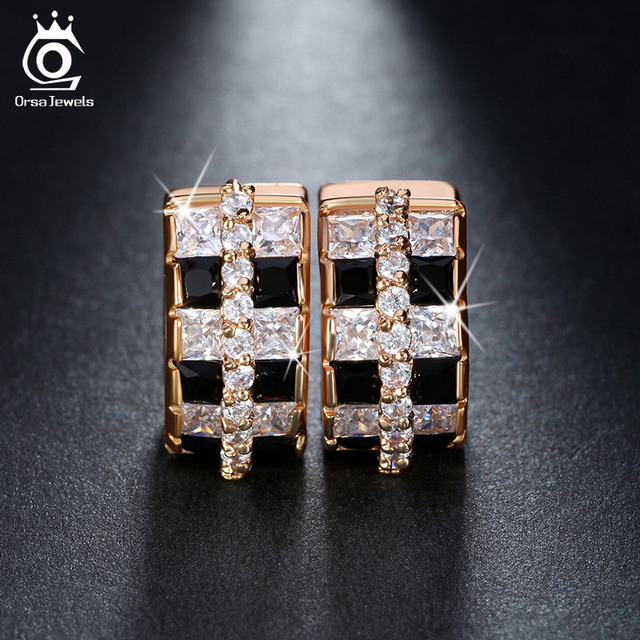 ORSA JEWELS 12 pieces 0.1ct Black Fixed Clear Austrian CZ Paved Cute Zircon Earrings Small Hoop Design Earring Jewelry OME20