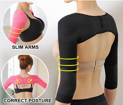 Women Shoulder Arm Control Slimming Shaper Long Sleeve Slimmer Shapewear M L