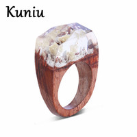 Fashion White Resin Flower Wood Ring For Womens Rectangle Facetted Couple Wedding ring Dropshipping