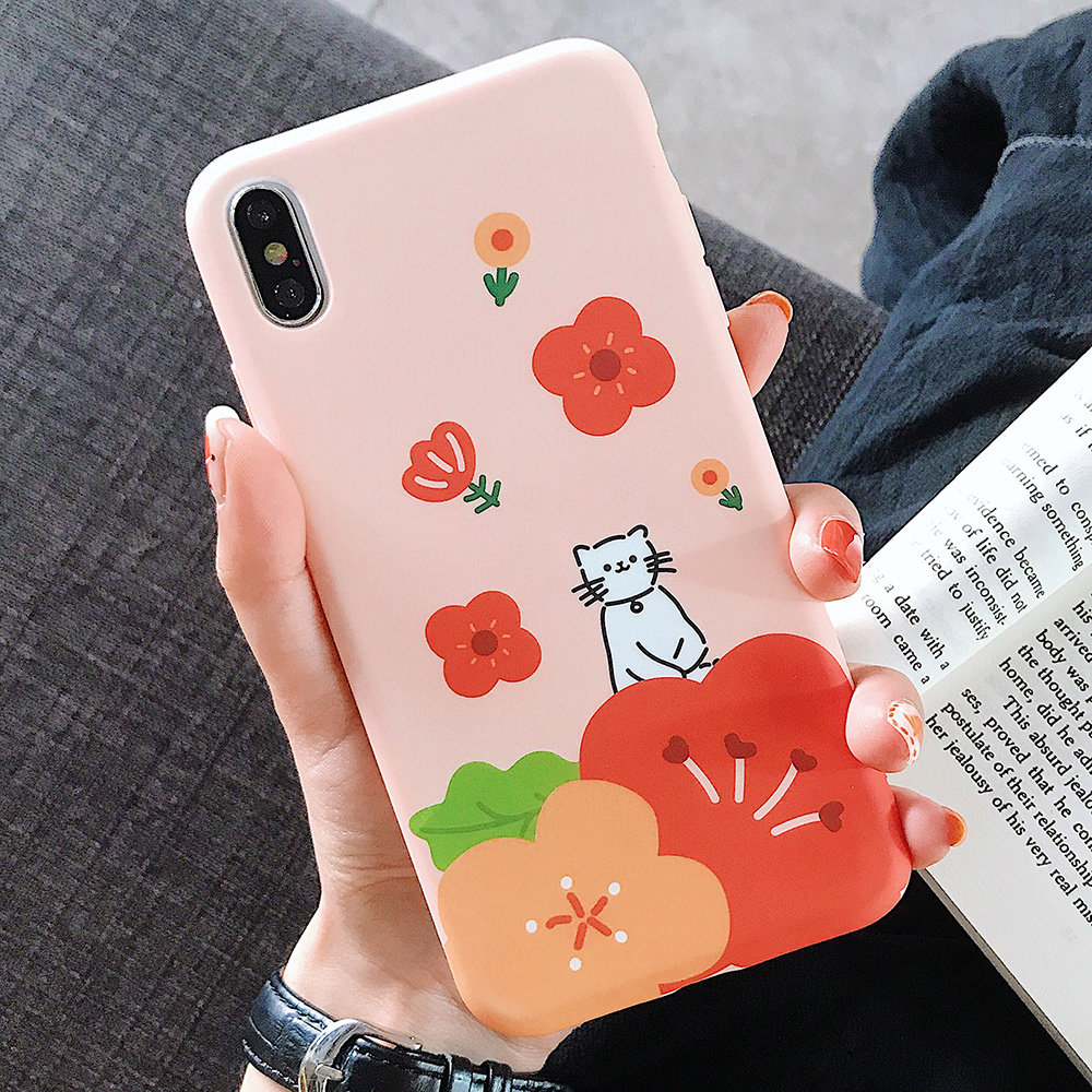 KIPX1123A_1_JONSNOW Solid Liquid Soft Silicone Case For iPhone X XR XS Max 6 6S 7 8 Plus Cases Painted Cartoon Chick Cat Pattern TPU Cover